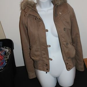 ABERCROMBIE AND FITCH TAN JACKET WITH HOOD